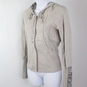 Free People gray satin full zip hoodie jacket